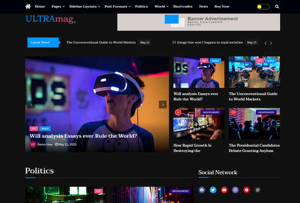 Ultra Mag-Free Magazine, Blog & News Theme